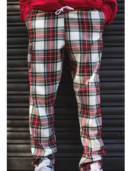 Trousers In White Red Scotch Tartan by Hurthado Clo'