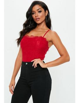 Red Straight Neck Lace Overlay Bodysuit by Missguided