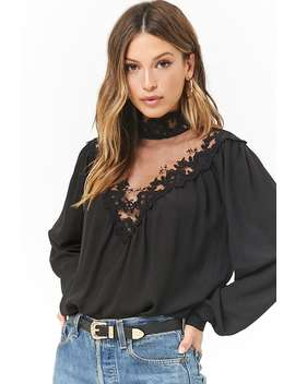 Crochet Lace Chiffon Top by Forever 21