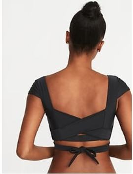 Wrap Back Cap Sleeve Swim Top For Women by Old Navy