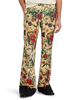 Floral Linen Flared Trousers by Gucci