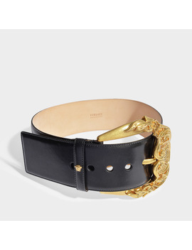 Embellished Buckle Belt In Black Calf Leather by Versace