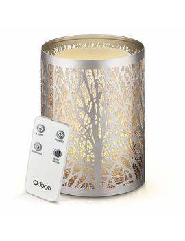 Odoga Aromatherapy Essential Oil Diffuser, 100 Ml Ultrasonic Whisper Quiet Cool Mist Humidifier With Warm White Color Candle Light Effect, Decorative Silver Iron Cover & Remote Control by Odoga