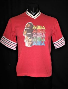 "True Vintage 80s 90s Red Abba Transfer Sports Usa Tee T Shirt S M 38""  40"" Chest by New South"