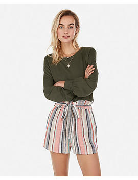 High Waisted Stripe Sash Tie Shorts by Express