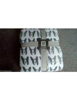 "New Boston Terrier Plush 90""X90"" Full Queen Softie Blanket Gray White by White"