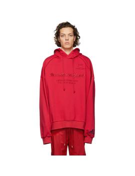 Red Embroidered Hoodie by Juun.J