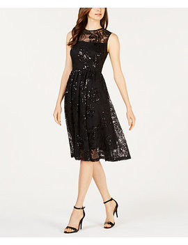 Sequined Illusion Fit & Flare Dress by Calvin Klein