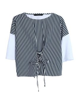 Betina Lace Up Striped Poplin And Cotton Jersey Top by W118 By Walter Baker
