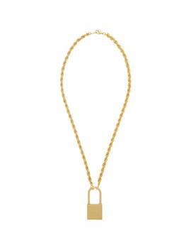 Gold Padlock Necklace by Heron Preston