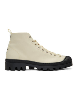 Off White & Black Canvas Lace Up Boots by Loewe