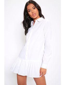 White Frill Hem Oversized Shirt Dress by I Saw It First