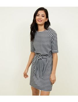 Black Belted Houndstooth Tunic by New Look