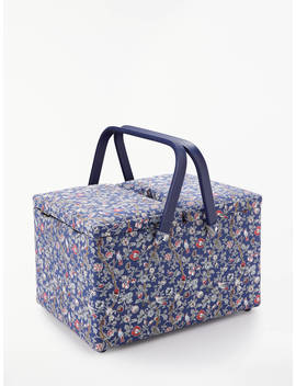 John Lewis & Partners Archive Vine Print Twin Lid Sewing Basket, Blue by John Lewis & Partners