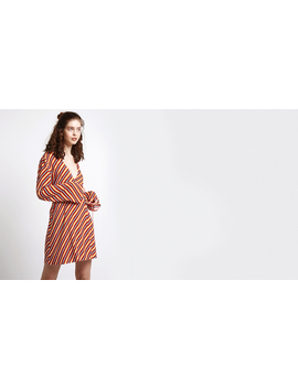 Red Multi Stripe Clean Wrap Dress by Nobody's Child