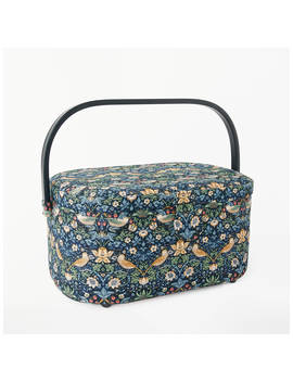 John Lewis & Partners Strawberry Thief Print Oval Sewing Basket, Navy by John Lewis & Partners