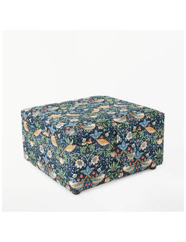 John Lewis & Partners Strawberry Thief Print Small Square Sewing Basket, Navy by John Lewis & Partners
