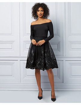 Embroidered Mesh Fit & Flare Cocktail Dress by Le Chateau