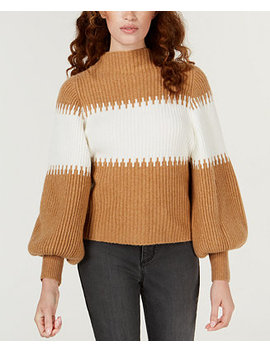 Striped Blouson Sleeve Sweater by French Connection