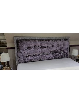 Glitter And Crushed Velvet Upholstered Headboard. Lilac And Silver With Crystal Buttons.  All Sizes  Single, Small Double, Double, King Size by Etsy