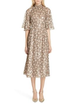 Floral Park Metallic Detail Silk Blend Midi Dress by Kate Spade New York