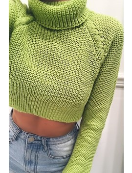 Gina Lime Roll Neck Cropped Jumper by Misspap