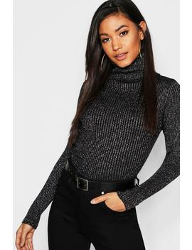 Metallic Rib Knit Roll Neck Jumper by Boohoo