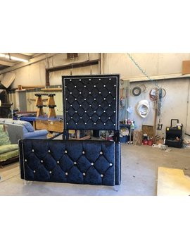 Crystal Tufted Headboard Tall Glam Bed Frame Diamond Tufting Velvet Crystal Nail Head California King Queen Full Twin Custom Made by Etsy