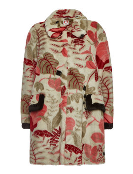 Desmond Sand Faux Fur Printed Coat by Shrimps