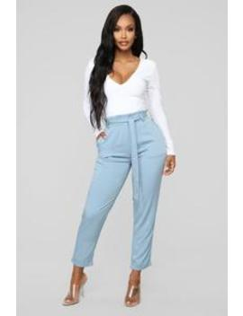 Always A Classic Tie Waist Pants   Denim by Fashion Nova