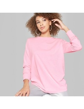 Women's Long Sleeve Oversized Crew Neck T Shirt   Wild Fable™ Pink by Wild Fable
