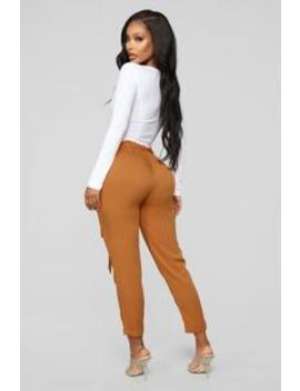 Always A Classic Tie Waist Pants   Rust by Fashion Nova