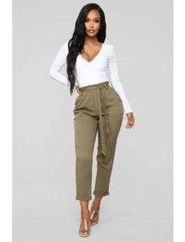 Always A Classic Tie Waist Pants   Olive by Fashion Nova