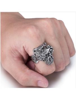 Warrior Rune Norse Nordic Viking Valknut Fenrir Wolf Stainless Steel Silver Ring by Babelonia