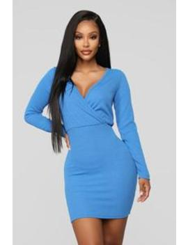 Daily Duties Long Sleeve Dress   Royal by Fashion Nova