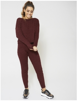 Burgundy Cable Knit Co Ord by Public Desire