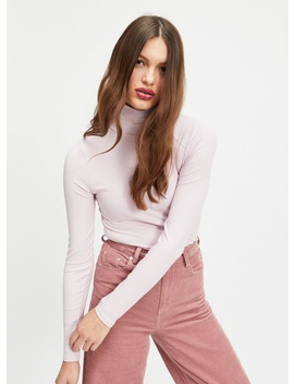 Lilac Ribbed Roll Neck Long Sleeve Top by Miss Selfridge