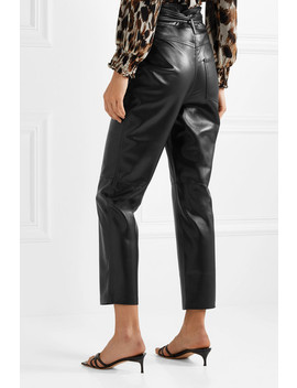Ethan Belted Vegan Leather Straight Leg Pants by Nanushka