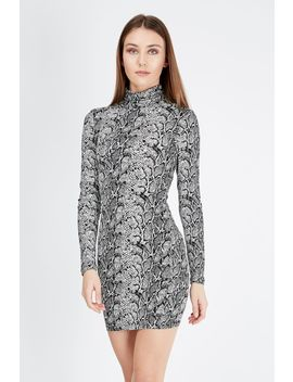 Snake Print Long Sleeve Bodycon Dress by Select
