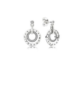 Pandora Circles Drop Earrings, Clear Cz Sterling Silver, Cubic Zirconia by Pandora