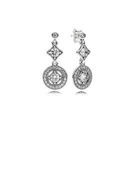 Vintage Allure Drop Earrings, Clear Cz Sterling Silver, Cubic Zirconia by Pandora