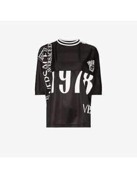 Short Sleeve Logo Print Football T Shirt by Versace
