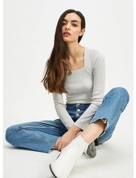 Grey Square Neck Rib Knitted Top by Miss Selfridge