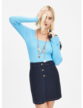 Blue Square Neck Knitted Top by Miss Selfridge