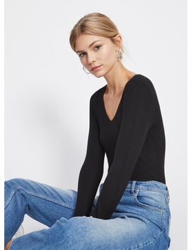 Black Lace Back Knitted Top by Miss Selfridge