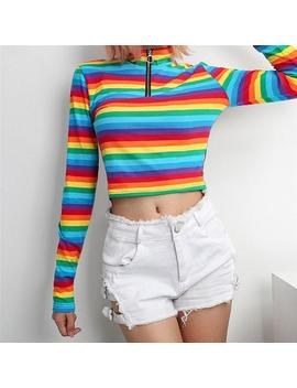 Creative Colorful Tshirt | Cool Long Sleeve Turtleneck Rainbow Zipper Pullover Sweater | Gift | Adults And Teenagers Women's | Free Shipping by Etsy