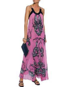 Printed Silk Chiffon Maxi Dress by Roberto Cavalli