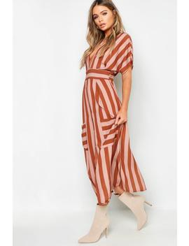 Tonal Stripe Pocket Detail Midi Dress by Boohoo