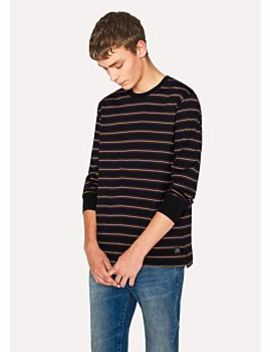 Men's Black Violet Stripe Long Sleeve T Shirt by Paul Smith