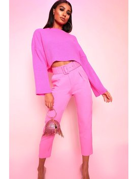 Pink Belted Cigarette Trousers by I Saw It First